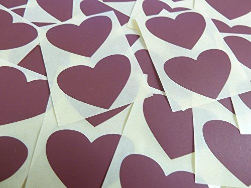 50x37mm Granate Con Forma De Corazón Etiquetas, 40 auta-Adhesivo Código De Color Adhesivos, adhesivo Corazones para Manualidades y Decoración