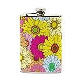 COOSUN - Petaca floral brillante multicolor con piel sintética envuelta, acero inoxidable a prueba de fugas, petaca de licor, 236 ml