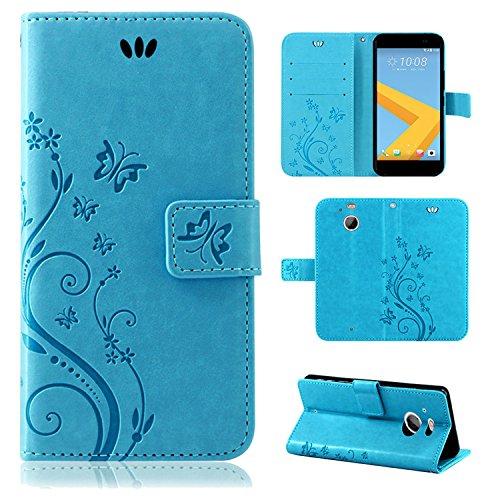 betterfon | Flower Case Handytasche Schutzhülle Blumen Klapptasche Handyhülle Handy Schale für HTC 10 Evo Blau