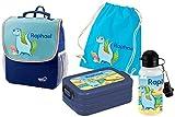 Mein Zwergenland Set 5 Kindergartenrucksack mit Brotdose, Turnbeutel aus Baumwolle und Trinkflasche Happy Knirps NEXT mit Name Dino, 4-teilig, Blau