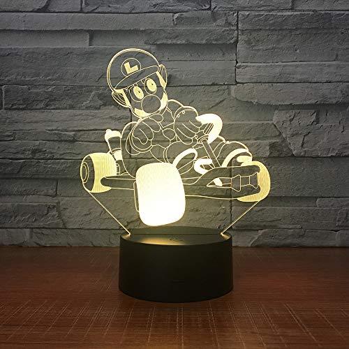 Yoppg 3D Illusion Lampe Led Nachtlicht Touch-Schalter 7 Farben Schreibtisch Optische Illusions Lampen Usb Or Batterie Betrieben Kind Bumping Kart Fahren Ordinary