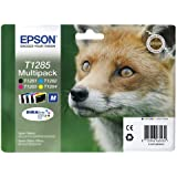 Epson C13T12854010 Confezione 4 Cartucce Inkjet Ink Pigmentato Blister RS Volpe-M T1285, Nero/Ciano/Magenta/Giallo