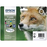 Epson T1285 - Pack de 4 cartuchos de inyección de tinta, tricolor y negro-Stylus SX445W,SX440W,SX435W,SX430W,SX425W,SX420W,SX235W,SX230,SX130,SX125,S22 Stylus Office BX305FW Plus,BX305FW,BX305F