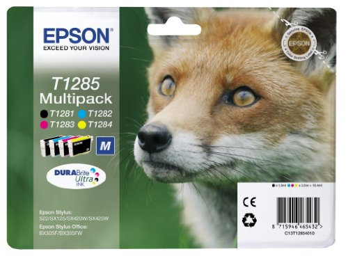 Epson C13T12854012 Cartuccia Inkjet Ink Pigmentato, Blister RS Volpe-M T1285, Confezione da 4, Nero/Ciano/Magenta/Giallo, Imballaggio Standard