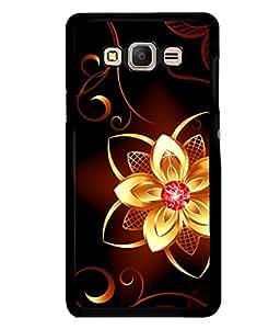 printtech Golden Flower Diamond Back Case Cover for Samsung Galaxy E7::Samsung Galaxy E7 E700F
