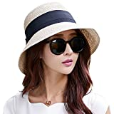 Siggi Ladies Summer Straw Panama Beach Fedora Floppy Sun Hat Wide Brim Bowknot for Women Beige