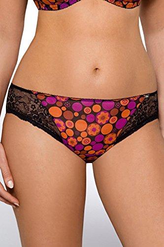 Ava 1473 Slips Damen Unterhosen Unterwäsche Gemustert Spitze Setteil Top Qualität EU Schwarz-Orange