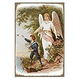Cuadros Lifestyle Wanddekoration Blechschild 'Engel'/Schutzengel/Vintage, Größe:30x45 cm