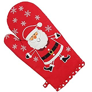 Brookes & Mason Father Christmas Santa Embroidered Oven Glove, Red