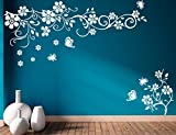 #7: Heaven Decors Wall Sticker Flower With Butterfly White Wall Decal And Sticker Size(95*59)Cm