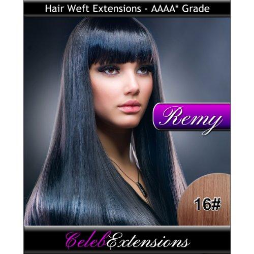 40,6 cm 16 # Marron clair doré indiens 100% humains Remy Hair Extensions capillaires Cheveux. Tissage Silky droit 6 m Poids : 100 g AAAA de grande qualité. Qualité. Par celebextensions
