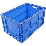 KLAPPBOX 61 Liter, stabile Faltbox Made in Germany, 60x40x32cm, Kunststoff Transportkiste, Plastikbox, Transportbox, max. 60kg, Blau
