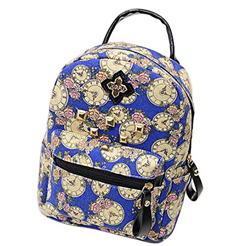 Gaorui zaino zainetto donna ragazza borsa tela bag stampa orologio vintage backpack Blu