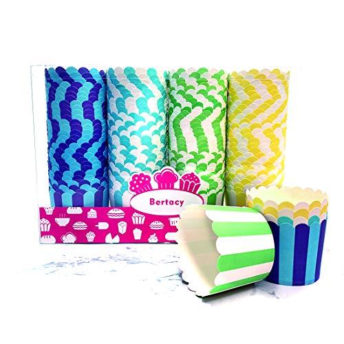 Bertacy Mix und Match; Kuchenkörbchen für Backtage, Geburtstage, Teekränzchen, Hochzeiten und Partys, groß Ø 6 cm 4 color(100 pro Pack)