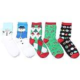 OULII 5 Paar Unisex Baumwoll Socken Weihnachtssocken für Weihnachtsgeschenk Party Geschenk