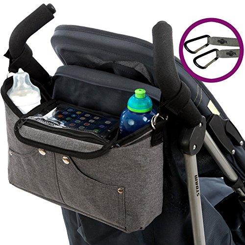 Bolso organizador para cochecito o silla de paseo gris de BTR, con bolsillo exclusivo para el teléfono...