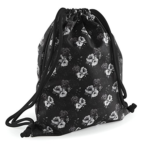 BagBase Graphic Drawstring Backpack - Indigo Palm