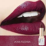 Anglewolf 9 Color Lipstick True Colour 'Blush Nude' Shade With Shea Butter & Vitamin E Waterproof Pearl Metallic Long Lasting Lip Cosmetic Beauty Makeup Gift Beauty Makeup(#206)