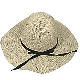 Oudan Sombrero de Paja Plegable con Borde de Panamá para Mujeres (Color : Beige, tamaño : Un tamaño)