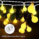Luz LED Garland tira solar de luz ambiental decoración de la iluminación para la Navidad Mairage casa Exterior Jardín (40 bombillas de luz blanca cálida)