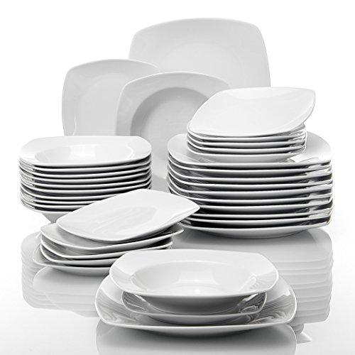 MALACASA, Serie Julia, 36 Piezas Vajillas de Porcelana económicas Juegos de Vajillas con 12 Platos de la Cena, 12 Platos de Postre, 12 de Placas de Sopa para 12 Personas