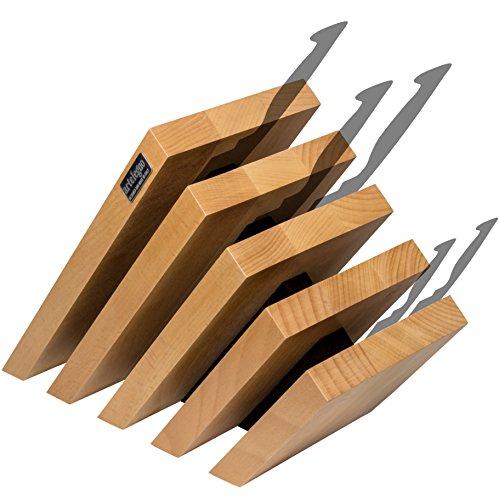 artelegno Magnetischer Messerblock Buche massiv Holz 5Panel, luxuriöser Italienisches Venezia Kollektion von Master Handwerker zeigt bis zu 14High-End Messer Elegant, umweltfreundlich, natürliches Finish, Natural and Black, 10 Knives