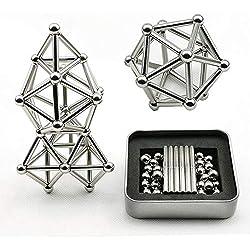 Bloques de Construcción Magnéticos relajantes Establecidos Juguetes de Escritorio de Escultura para Adultos Puzzle de Estrés de Socorro Juguetes con Imán de Palo y Bolas Magneticas(63 pcs)