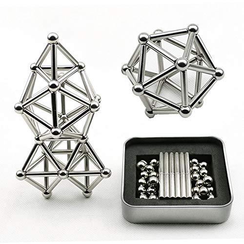 BovoYa 63 Magnetbausteine stücke Magnet BAU Set Bausteine Magnetkugel Magnetstab Stapeln Spiel Puzzles Spielzeug für Kinder und Erwachsene