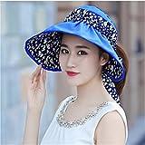 GAOQIANGFENG Womens UPF 50 + Hut, Weiblich, Xia Da, Sonnenschirm Hut, Dame, Sommer Sonnencreme, Falten, Radfahren und leeren Hut, Blau