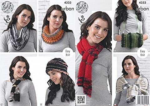 King Cole Urban Knitting Pattern Ladies Womens Easy Knit Snood Beanie Scarf Wrap & Muffler (4333) by King Cole