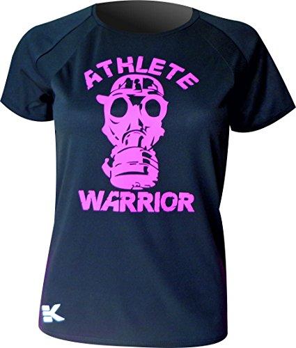 CAMISETA MUJER EKEKO ATHLETE WARRIOR , camiseta manga corta, perfecta para todo tipo de deportes. running, crossfit, gym, yoga y deportes en general. (negra, L)