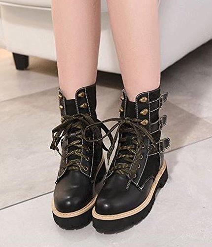 &zhou Femme Martin bottes automne et l'hiver coton bottes de camouflage de la mode black cotton