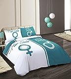 HBS Ltd Bettwäsche-Set, Für King-Size-Betten, Weiß/Blaugrün, Design: Seine Seite/Ihre Seite