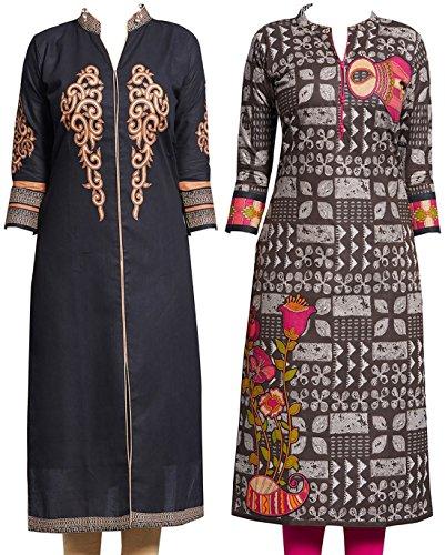 Jevi Prints - Pack of 2 Unstitched Women's Cotton Printed Kurti Fabrics...
