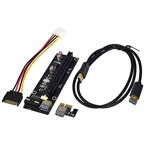 Preisvergleich Produktbild MENGS® PCI-E 1x Express16x Adapter Riser Karte Erweiterung Powered USB 3.0-Kabel für Bitcoin Mining