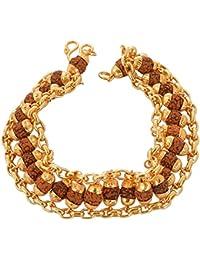 Ashvi Cottage- Brass Rudraksha Gold Plated Chain Bracelet For Men