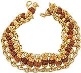 #5: Ashvi Cottage- Brass Rudraksha Gold Plated Chain Bracelet For Men