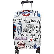 COOSUN Londres garabatos Imprimir Equipaje de Viaje Cubiertas Protectoras Lavable Spandex Equipaje Maleta Cubierta - Se