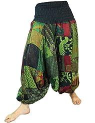 Aladinhose Patchwork Pluderhose, Hippie Hose grün / Pluderhosen und Aladinhosen