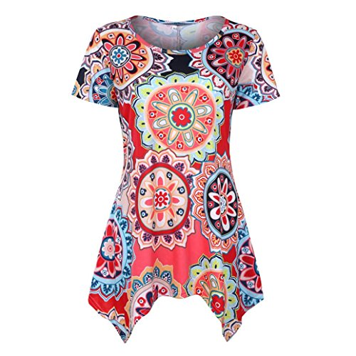 TUDUZ Sommer Damen Eegant Tops Kurzarm Swing Boho Retro Tunika Blumen Flare Tee Bluse Shirt (Rot, S)