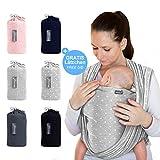 Makimaja - Écharpe de portage gris clair avec des étoiles - porte-bébé de haute qualité pour nouveau-nés et bébés jusqu'à 15 kg - en coton doux - incl. sac de rangement et bavoir bébé