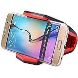 Finoo Universal Auto-Handy-Halterung | Smartphone Auto KFZ Halterung | Krokodil Klammer für das Armaturenbrett | Für z.B. iPhone 6S/6/6S Plus/6 Plus/7/7 Plus | Rot