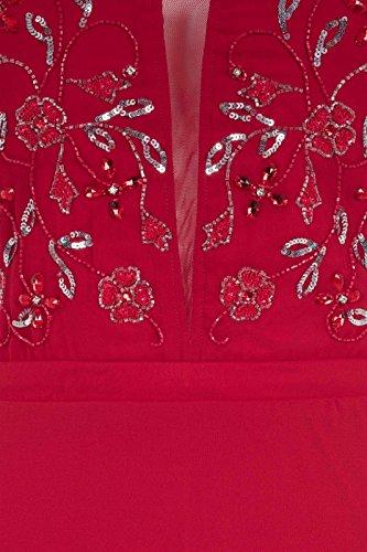 Femmes Robe Longue Ornementée Robe De Soirée Rouge