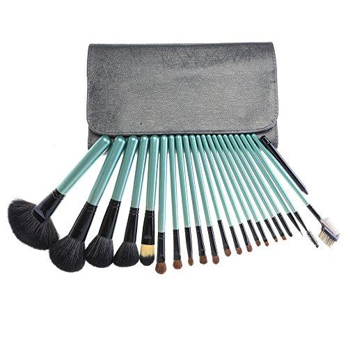 22 pièces brosse de brosses de maquillage de base visage yeux fard à paupières gris sac portable