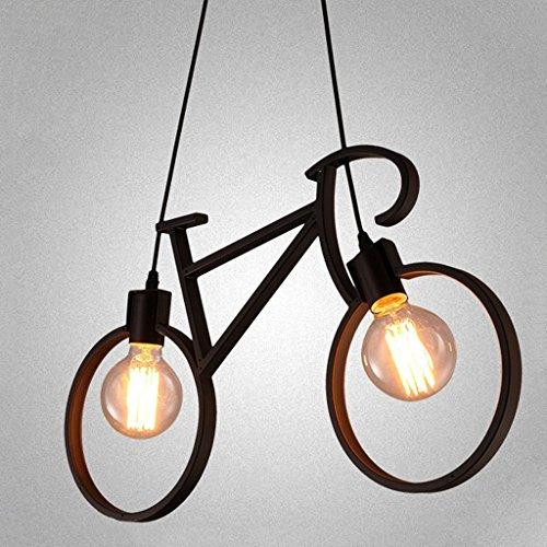 Lámpara colgante de bicicleta de artesanía de hierro SYAODU Lámpara de techo de restaurante E27 Estilo industrial Iluminación decorativa AC110-240V Altura ajustable de 24 pulgadas * 14,6 pulgadas ( Color : Negro )
