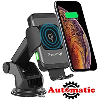 Lenture Wireless Car Charger, 10W Auto Clamp 2-in-1 Qi Fast Charger Car Mount Air Vent &Dashboard Phone Holder for iPhone Xs Max/XR/Xs/X/8 Plus, Samsung Galaxy S9 Plus/S8/S8 Plus