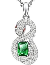 MARENJA-Regalo San Valentín Collar Mujer de Moda-Colgante Serpiente de Cristal Verde de Corte Esmeralda con Cadena-Joya Chapada en Oro Blanco con Cristal