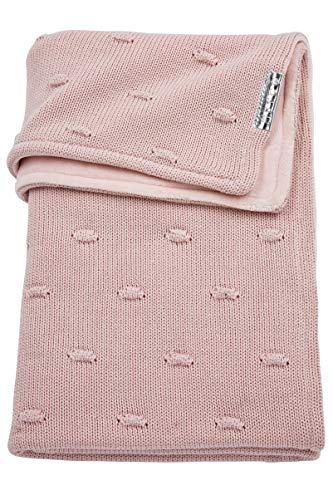 Meyco 2734052 Babydecke Winter gestrickt mit Velours und Knoten 75x100 cm, Rosa