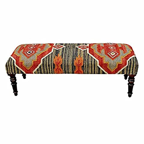 Homescapes Upholstered Kilim Bench Footstool or Rectangular Coffee Table Dark