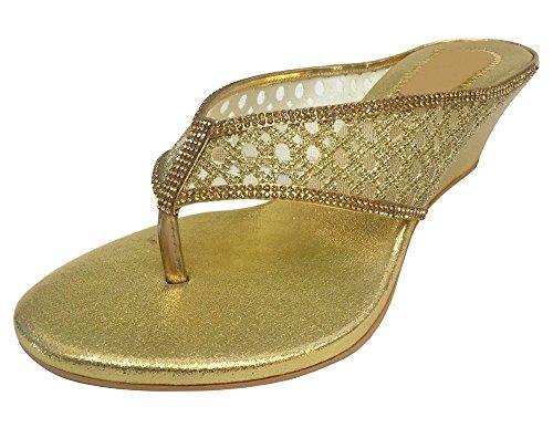 Étape Mode N Style Perle mariée mariage talon bas plat Demoiselle dHonneur Prom Femmes Chaussures Doré